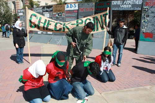 "A mock checkpoint erected during ""Israeli Apartheid Week,"" an annual anti-Israel showcase, in May 2010 on the University of California, Los Angeles (UCLA) campus. Photo: AMCHA Initiative."